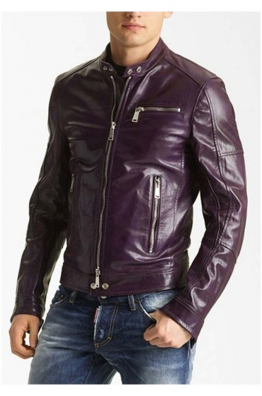 Mens Casual Purple Biker Jacket